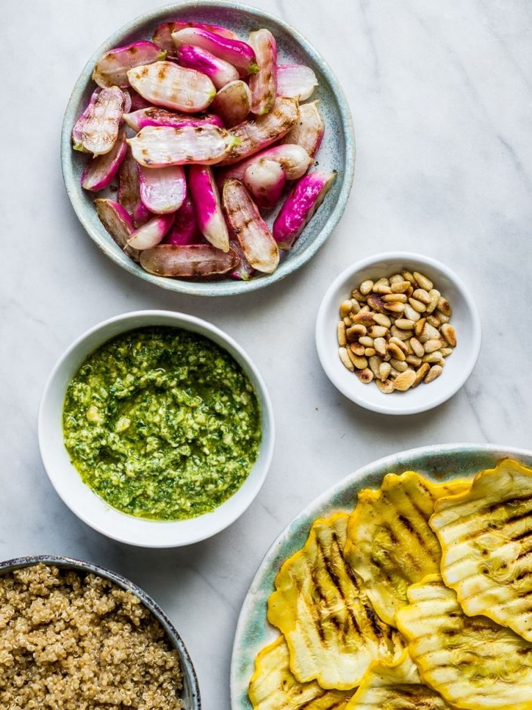 Radish top Pesto Quinoa Salad | Root to tip recipe | Natural Kitchen Adventures