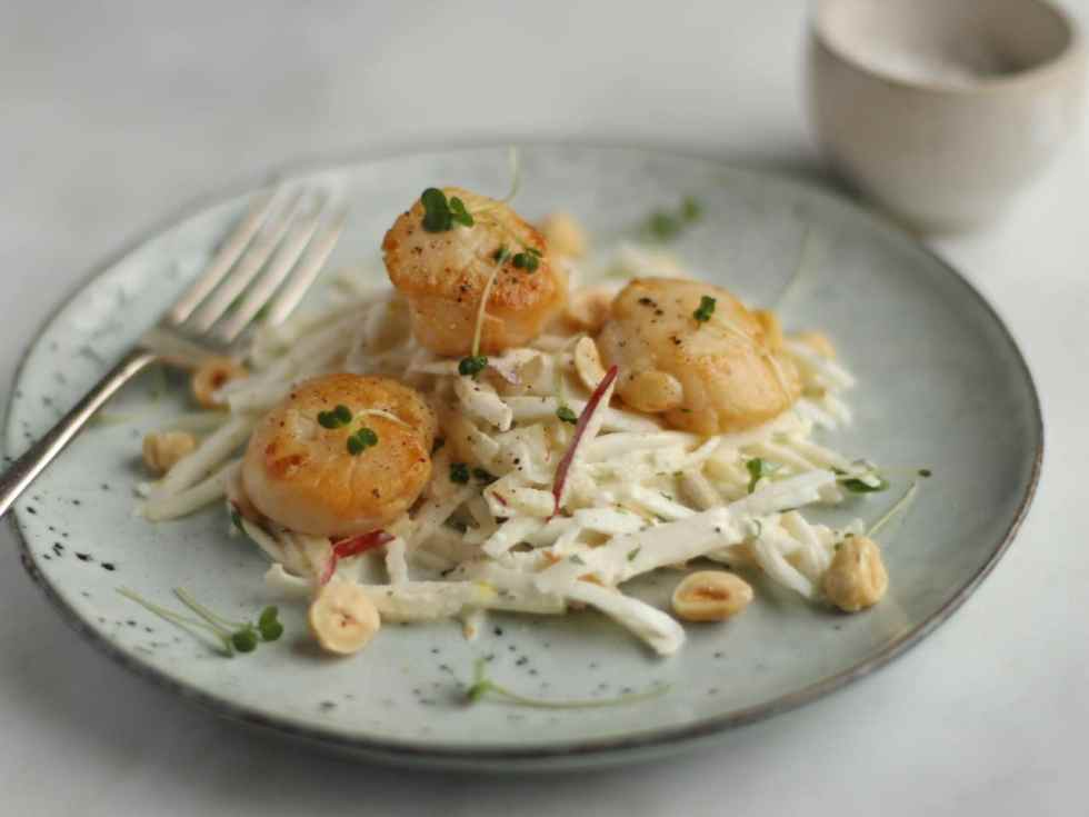 Celeriac Apple Remoulade with Scallops | Natural Kitchen Adventures