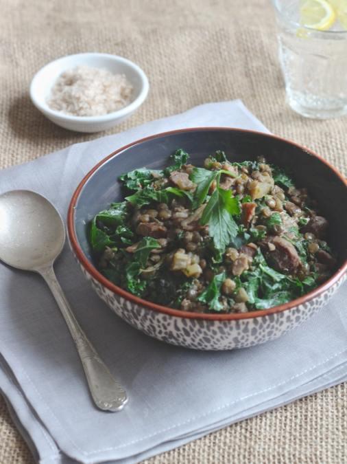 Chestnut Kale Lentil Stew