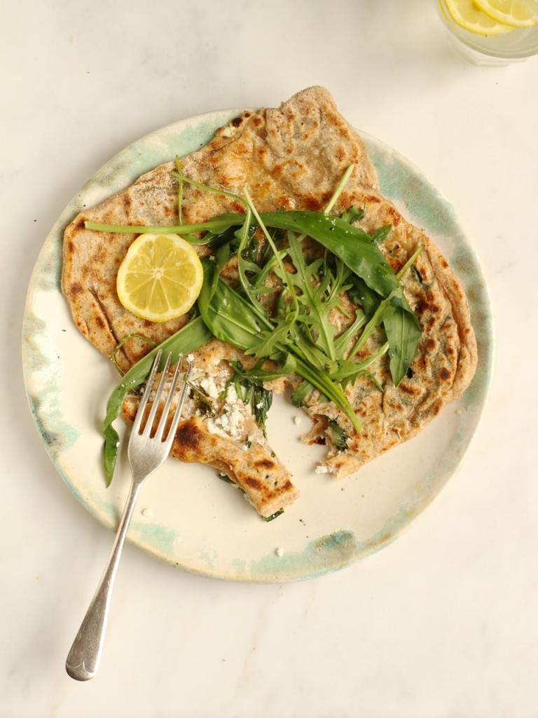 Wild Garlic, Rocket and Goat's Cheese Gozleme | from Henrietta Inman's The Natural Baker | Natural Kitchen Adventures