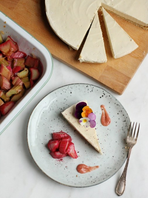 Lemon Cashew Cheesecake with Ginger Roasted Rhubarb