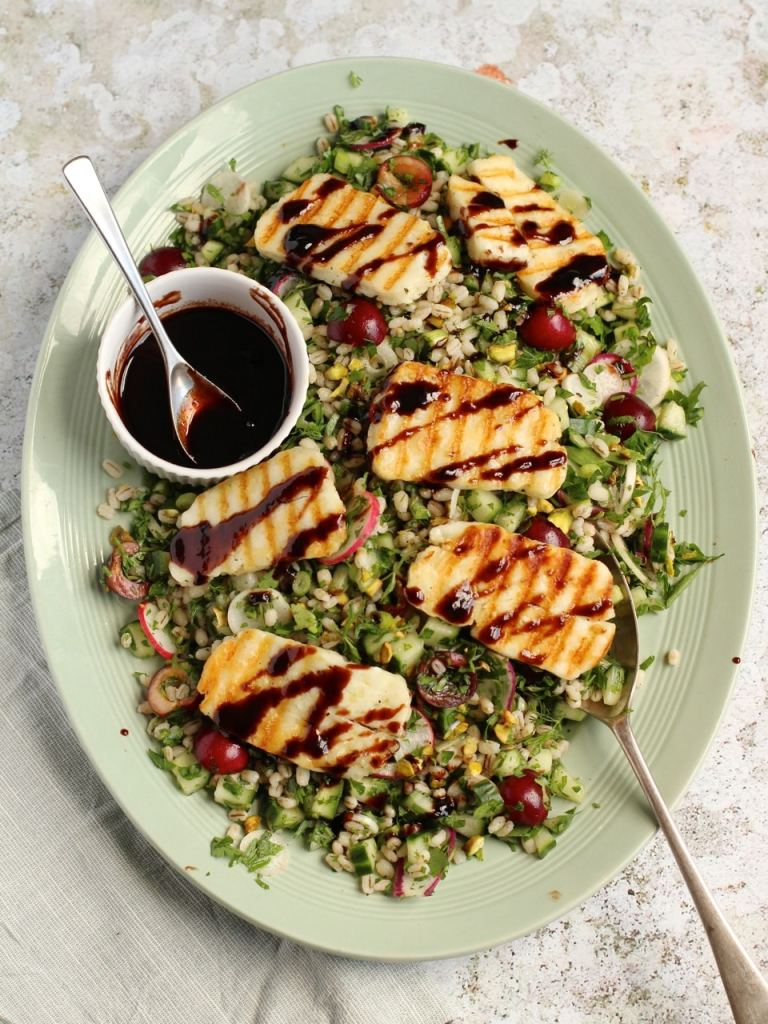 Cherry Pearl Barley Salad Halloumi | Natural Kitchen Adventures