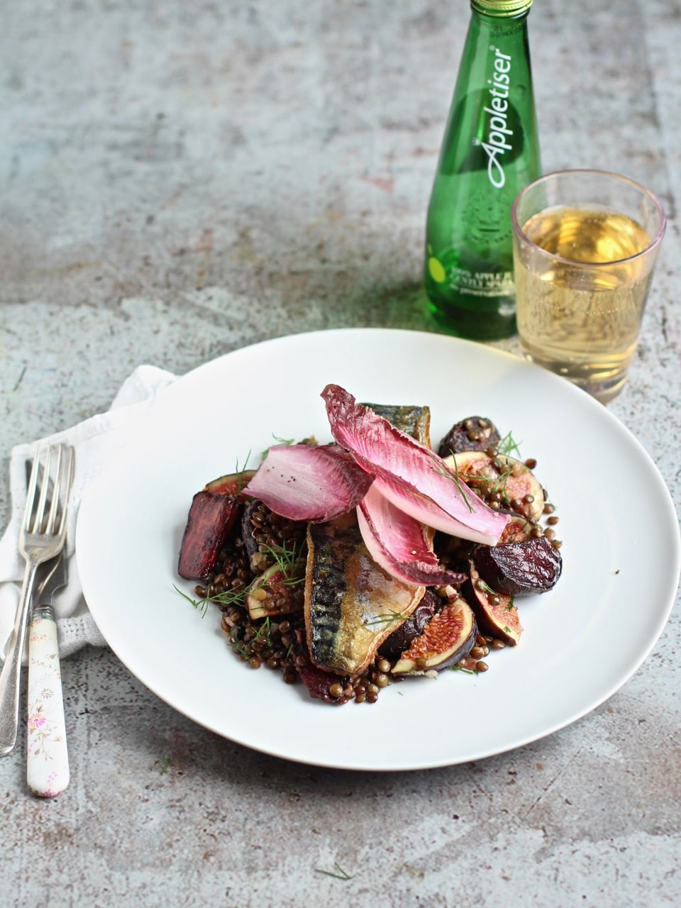 Pan-fried Mackerel with Warm Lentil, Beetroot and Figs