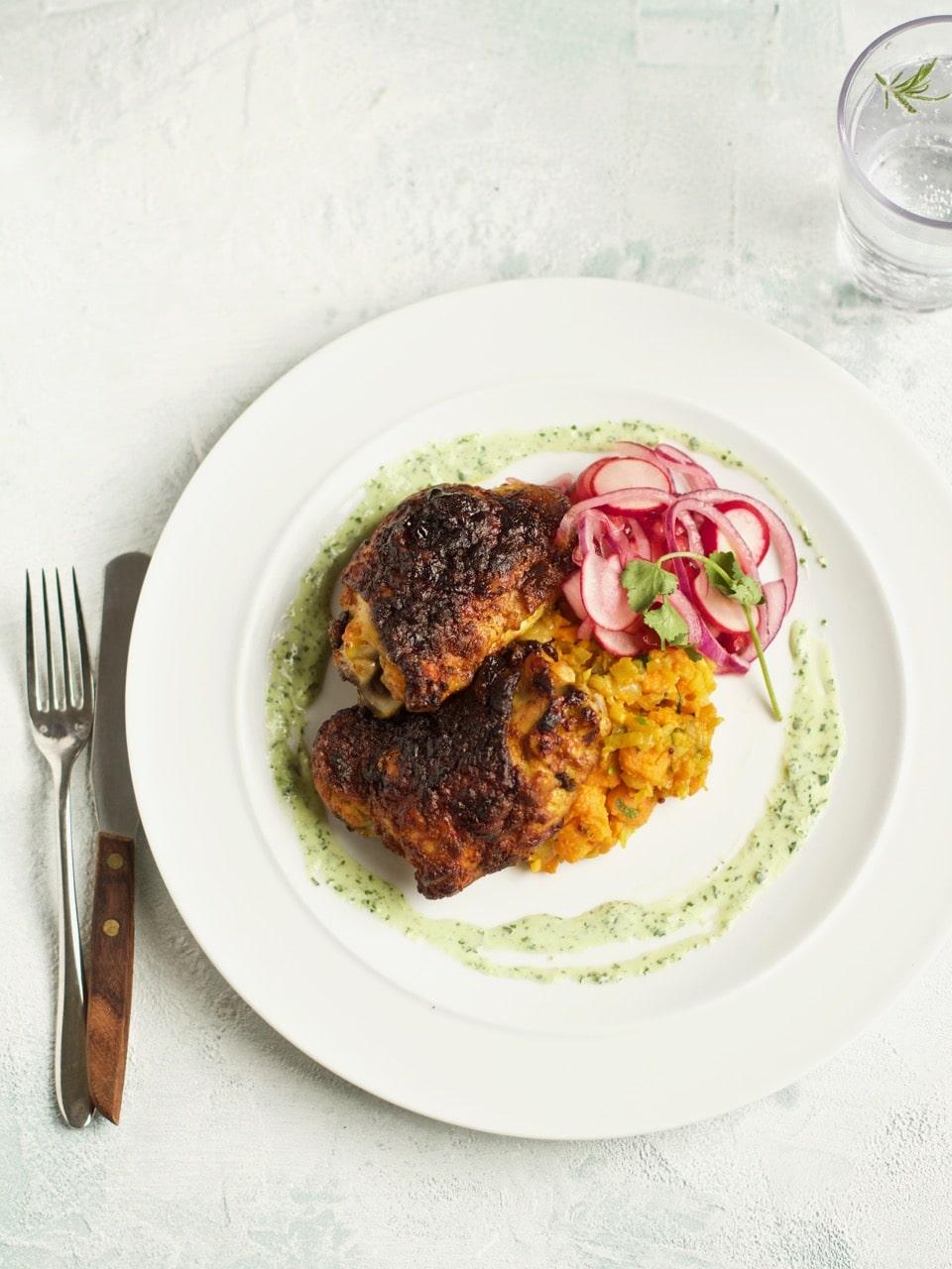 Spiced chicken thighs   Ceri Jones Chef