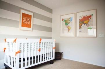 jolie chambre orange gris blanc