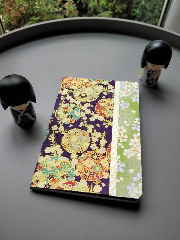 Carnet de notes ou de voyage ronds violet vert