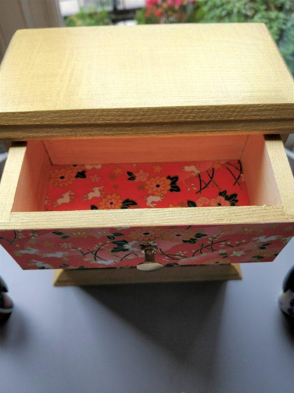 Cerisier indigo petit meuble bijoux tiroirs 2