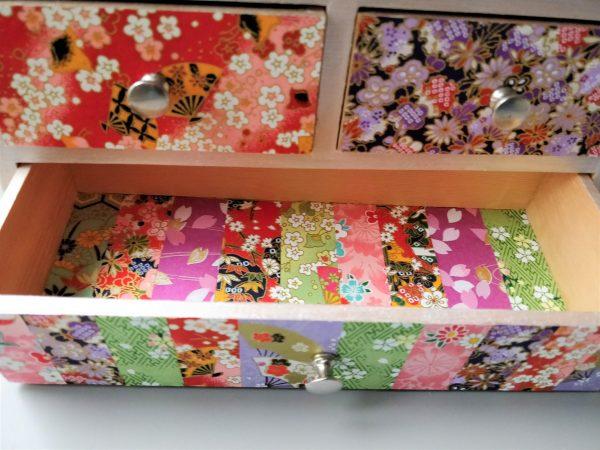 Boîte à bijoux 6 tiroirs papier japonais 1