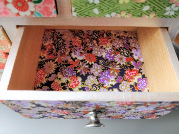 Boîte à bijoux 6 tiroirs papier japonais 3