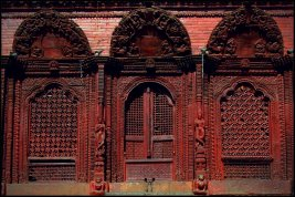 The door of Shiva Parvati temple in Kathmandu Durbar Square