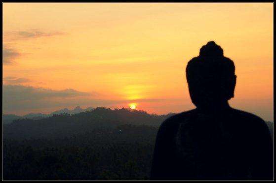 A Stupa of Borobudur facing Sunset