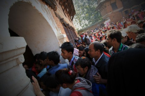 People in the Main Gate - the same gate for entrance and exit