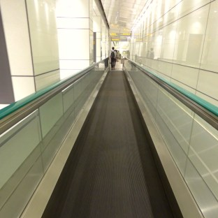 Travelator along the underground walkway