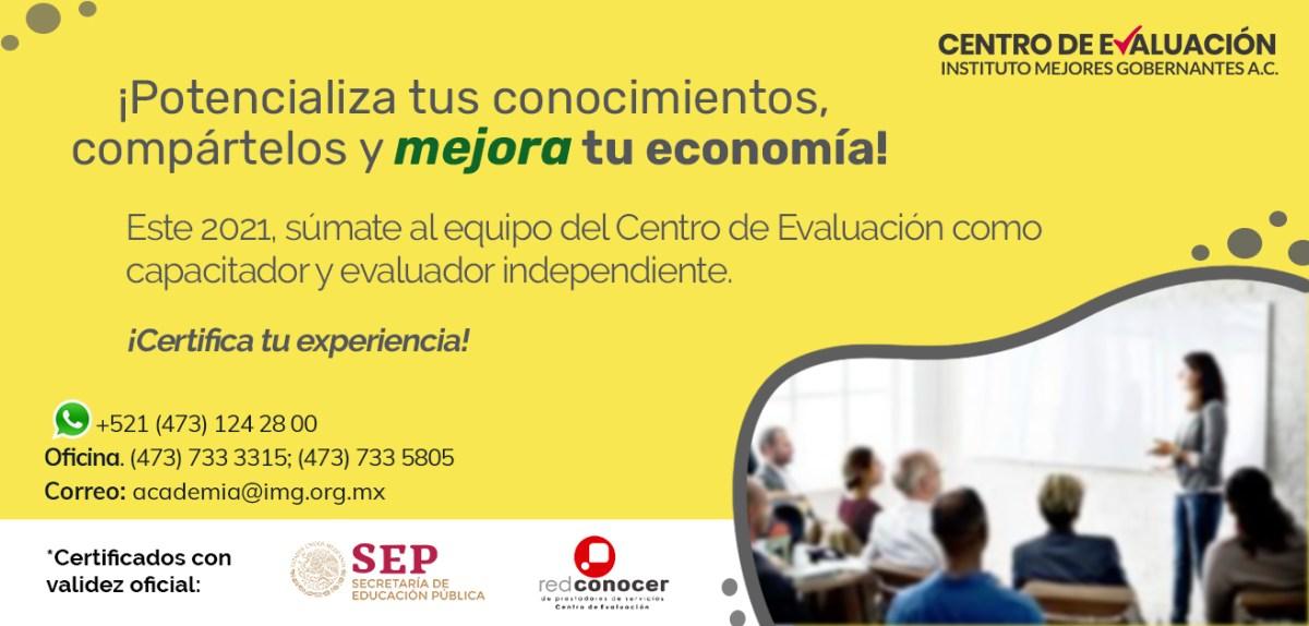 ¡Certifica tu experiencia y mejora tu economía! - Únete al Centro de Evaluación del Instituto Mejores Gobernantes