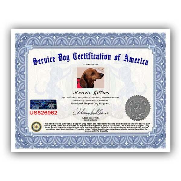 Emotional Support Dog Certificate