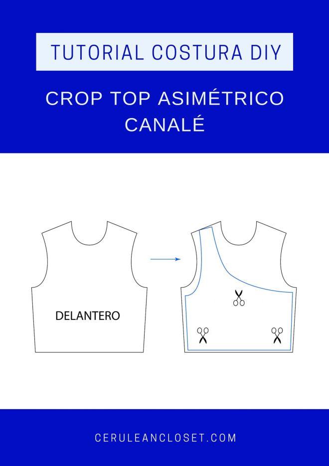 Despiece del patrón del crop top asimétrico de canalé