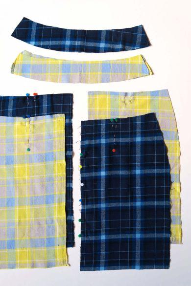 Tutorial reciclaje ropa: DIY falda tablas patchwork, delanteros, traseros y cinturillas cortados en el tejido