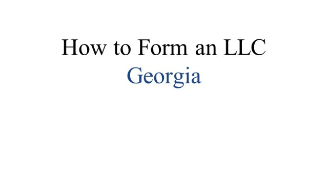 Forming an LLC Georgia 1
