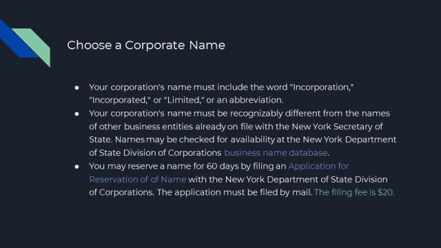 How to form a corp in New York 2