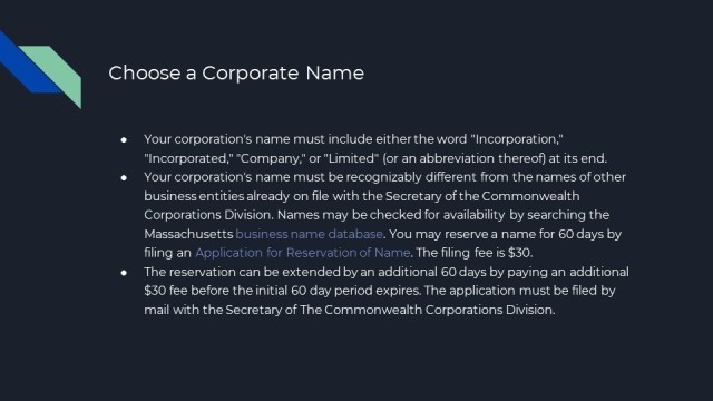 How to form a Corporation in Massachusetts