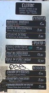 La carte, le menu de la brasserie communale
