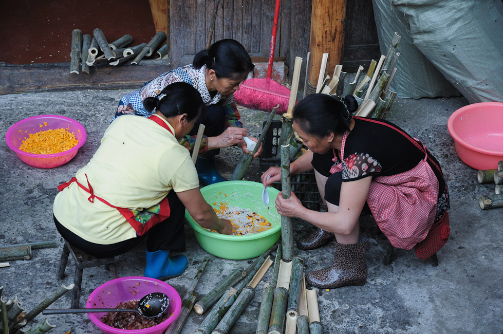 Příprava bambusové rýže