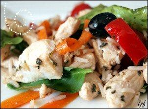 salade de poulet et riz