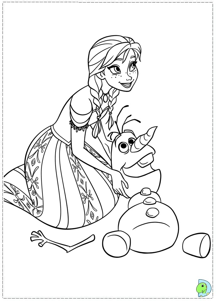 Coloriages la reine des neiges à imprimer : Anna et Olaf