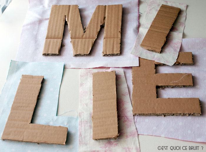 DIY Fabriquer son prénom en lettres géantes et tissu pour personnaliser une chambre d'enfant