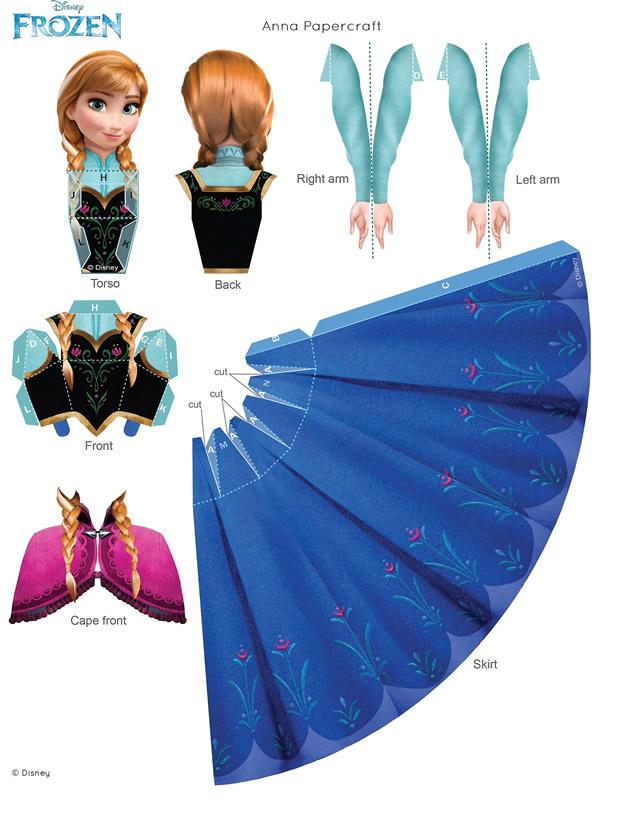 Activités à imprimer la reine des neiges : papercraft Anna