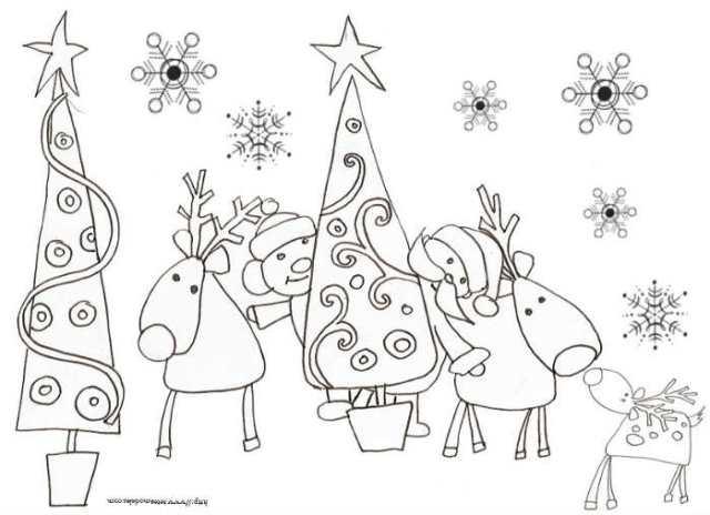 Coloriage Noël à imprimer gratuitement : rennes et sapin