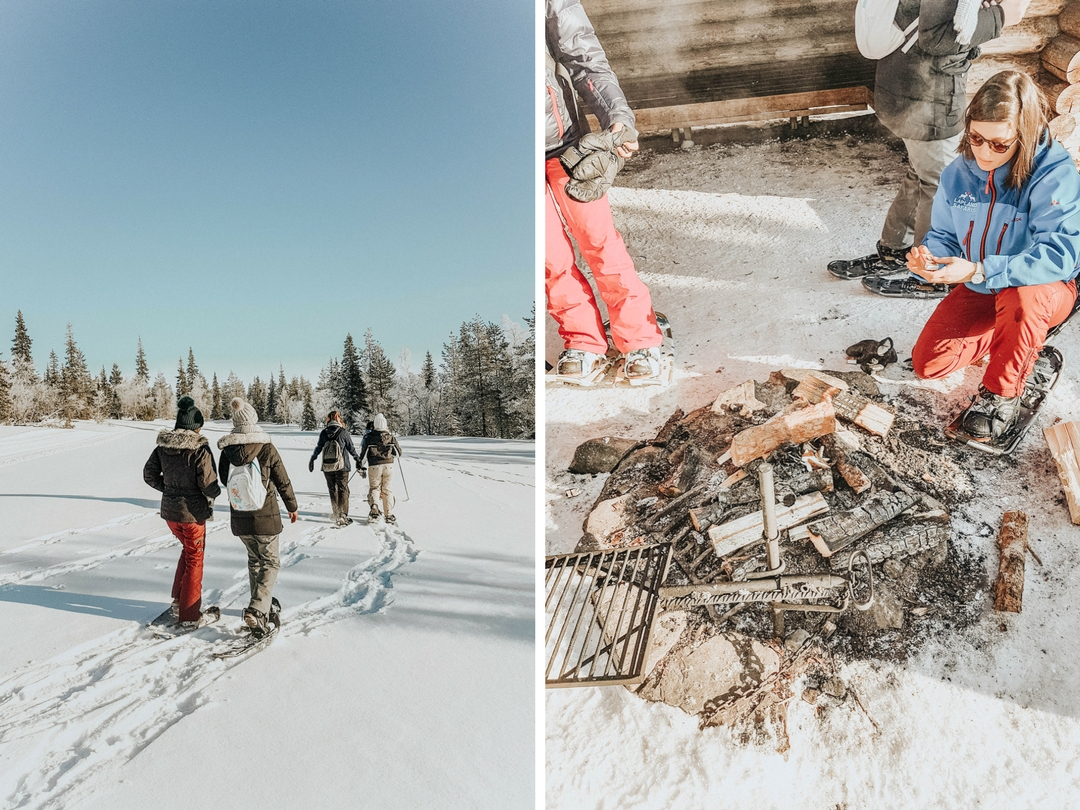 Sortie en raquette dans la neige pour profiter de la montagne sans les remontées mécaniques