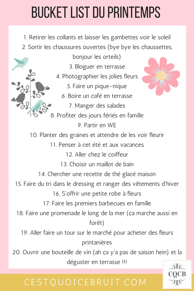 Bucket list de printemps à imprimer #printemps #bucketlist #feelgood #printemps