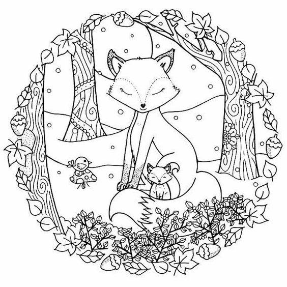 Coloriage de renard d'automne à imprimer gratuitement #coloriage