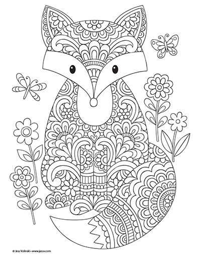 Coloriage automne renard à imprimer