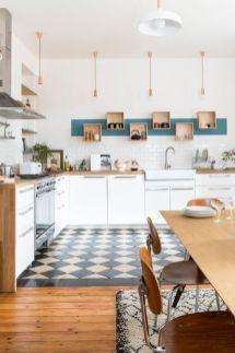 Décoration de cuisine scandinave avec évier à poser blanc et carrelage métro #deco #cusine #scandinave #metro #deco