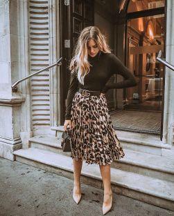Look parfait avec jupe imprimé léopard