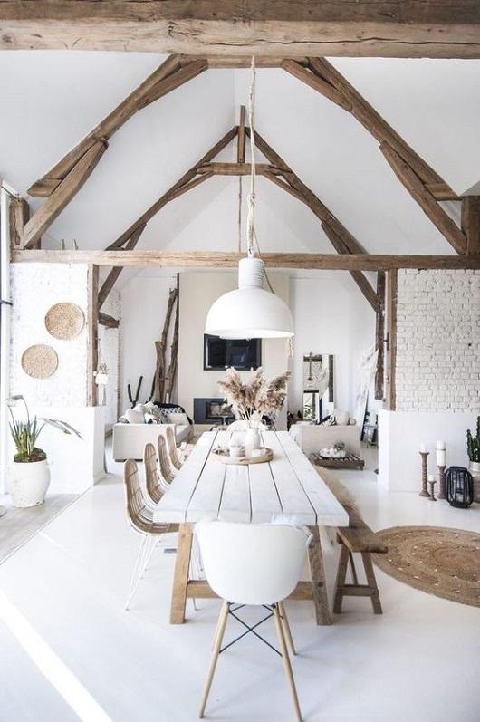 Table en bois style boho ethnique faite maison