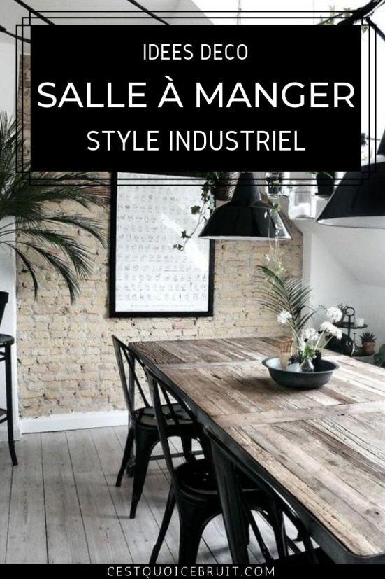 Idées déco pour une salle à manger de style industriel avec table en bois #déco #décoration #home #table #interior