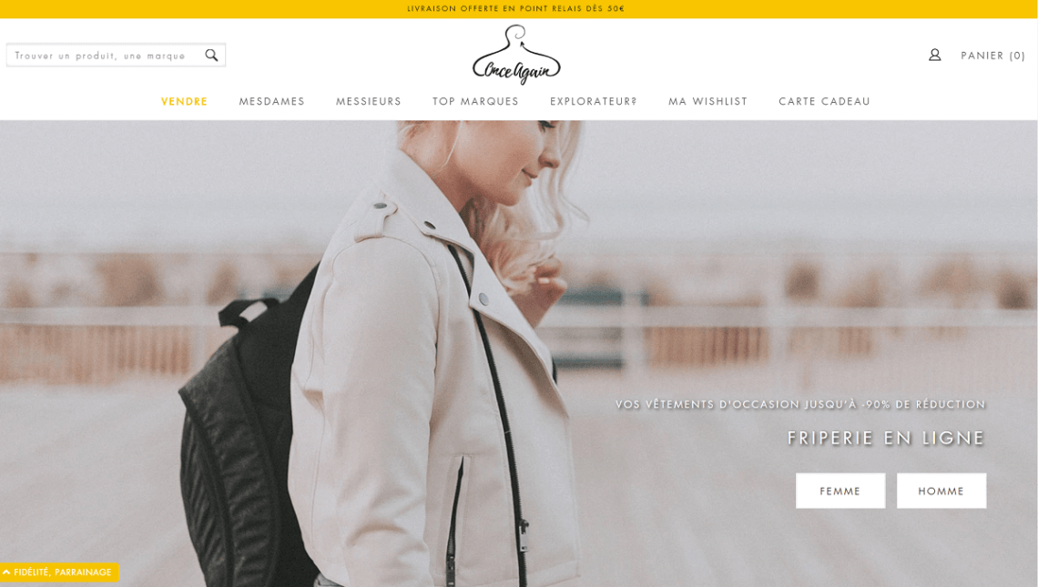 Acheter des vêtements d'occasion avec la friperie en ligne Once Again