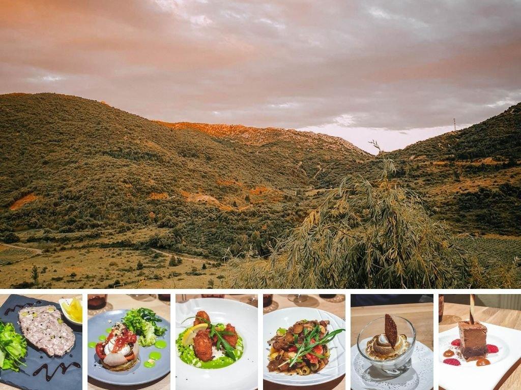 Vue sur les Corbières et repas à l'Auberge du vigneron à Cucugnan
