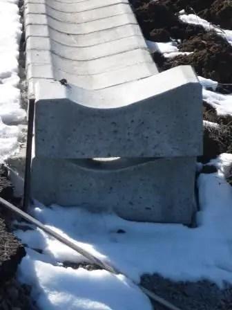 muresring Detaliu al sistemului prefabricat de bordaj antiderapaj in curbe, care flacheaza carosabilul in curba