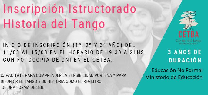 Inscripción Instructorado Historia del Tango