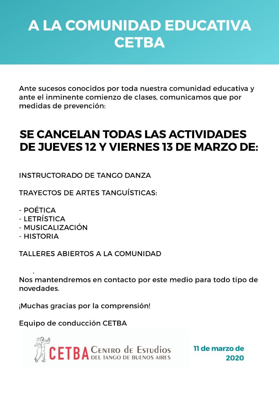 Atención Comunidad educativa del CETBA. Suspencion de actividades hasta el fin de la cuarentena obligatoria.
