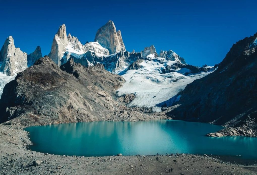 argentina An azure lake by the Fitz Roy mountain in Argentina