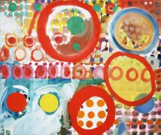 Mit drei roten Kreisen. Farbsystem mit Öl auf Leinwand.