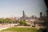 Chicago - Blick auf die Skyline aus dem Zugfenster