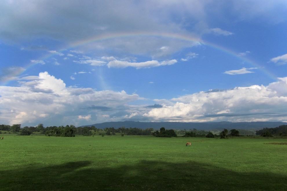Ein ganzer Regenbogen in den Alemgono Wetlands im Kafa Biosphere Reserve