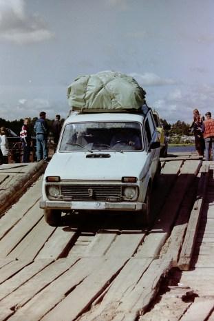 Russland – Fahrt mit dem Lada von einer Autofähre unterwegs in den Urlaub mit meiner Gastfamilie