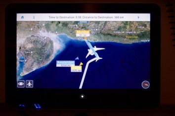 KL 877 - Über eine Stunde müssen wir nachts Wartemuster über dem Arabischen Meer fliegen, bis wir in Mumbai landen dürfen.